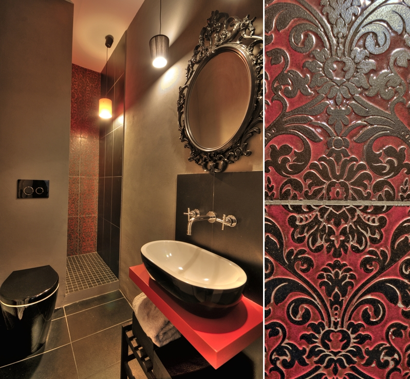 Black/Red Bathroom - Private Apartment